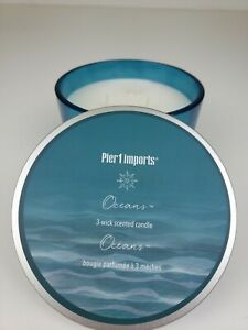 PIER 1 ONE IMPORTS   OCEANS   3  WICK SCENTED 14  OZ CANDLE