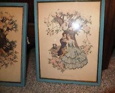 Vintage Matching Corre' prints 8 x 10 Chromo lithograph Romance proposal Shabby