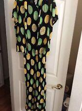 Tessuto sx Large 10/12 100%rayon lined dress2pc Blk/fruit,lemon,lime,ret$299