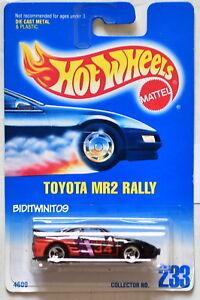 HOT WHEELS 1991 BLUE CARD TOYOTA MR2 RALLY #233 BLACK W/ 3 SP WHEELS 18 W+