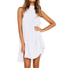 Fashion Women Mini Dress Long Top Holiday Summer Beach Sleeveless Party Sundress