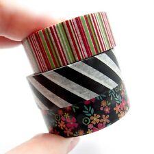 Washi Tape Black Floral Flowers Multi Coloured Stripe 15mm x 10m