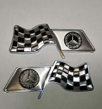2Pcs Chequered Flag Aluminum Alloy Car Badge Emblems Fit For Mercedes-Benz Auto