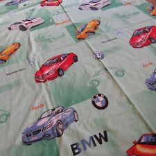 Sports Cars Twin Size Bed Sheet Flat Fabric Double Sided BMW Audi Volvo Mercedes