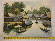 Vintage Thailand Waterway Oil Palette Painting Signed Somkool