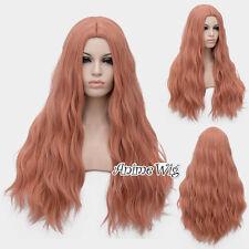 Lolita Damen Popular 78cm Lang Curly Grau Rosa Karneval Anime Cosplay Wig +Cap