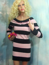 BEBE cashmere SWEATER dress TUNIC pink black STRIPE off-shoulder  SHAWL $148 S-M