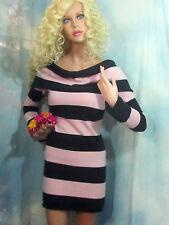 BEBE cashmere SWEATER dress TUNIC pink black STRIPE off-shoulder  SHAWL $148 S-M