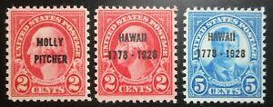 U.S. Stamps: Scott#646 - #648, 2c-5c, The Commemorative Overprints of 1928, OGNH