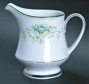 Vintage Noritake Ceramic Creamer Coffee Tea Wedding Blue Green Culeton Platinum