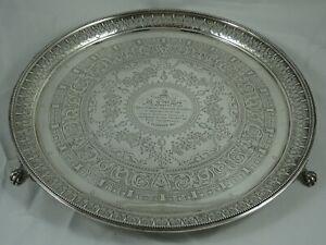 STUNNING  VICTORIAN silver SALVER, 1885, 1007gm