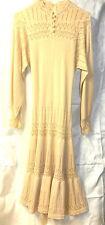"""MISS JOANN CALIFORNIA BEIGE LONG SLEEVE DRESS 47"""" ~ Vintage ~ Knit"""