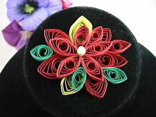 Quilling POINSETTIA Paper CHRISTMAS BROOCH Vintage PIN Flower Handcrafted Art