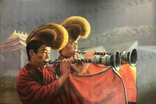 """""""Two Buddhist Monks with Yellow Hats and Horns"""" by Zhang Xing. Nice Original Oil"""