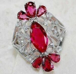 Top Quality 6CT Ruby & White Topaz 925 Sterling Silver Ring Jewelry Sz 7, M3