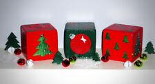 "2 Jumbo 3.5"" Red & Green Christmas XMAS Lawn Yard DICE w Tree,Ornament & Rhinest"