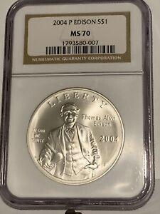 2004-P Thomas Edison Silver Dollar Commemorative NGC MS-70