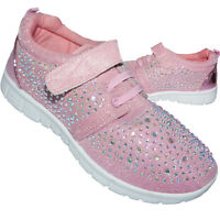 GIRLS DIAMANTE CANVAS SHOES CHILDRENS CASUAL PUMPS TRAINERS Hook and Loop Fasten