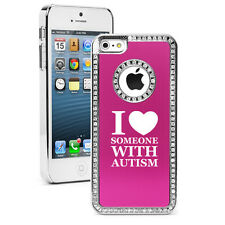 For iPhone 4 4s 5 5s 5c 6 6s Plus Rhinestone Bling Case I Love Someone Autism