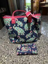 Women's N Gil Handbag Tote With Wallet Set. Elephants. Navy Blue. EUC.