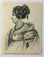 1880 magazine engraving ~ QUEEN CAROLINE of Brunswick