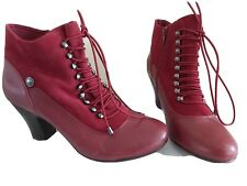Ladies HUSH PUPPIES Vivianna uk 43 UK 9 Red Heeled Victorian Ankle Boots FREE PP