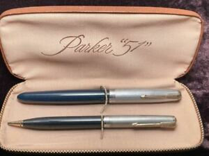 PARKER 51 STERLING SILVER CAPS FOUNTAIN PEN AND PENCIL SET IN BOX