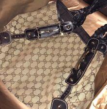 Gucci Authentic Hobo Bag Brown GG Logo Canvas Shoulder Purse Leather Trim large