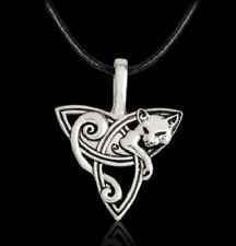 Celtic Cat Necklace Knot TRIQUETRA STAINLESS STEEL Pendant Pagan Fox Wolf