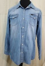 Lee Mens Vintage Western Look Denim Perl Snap Long Sleeve Xl Shirt