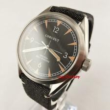 Corgeut 41mm Black Dial Sapphire glass leather strap Automatic Men's Watch 2818