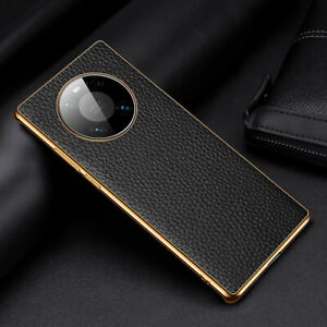 Luxury Genuine Leather Plating Bumper Case Cover For Huawei Mate 30 40 Pro Pro+
