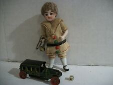 Antique German Glass Eye Bisque Miniature Christmas Dollhouse Boy W/ Items !