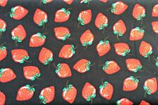 0.5 metre Strawberries - Black 100% Cotton Fabric 142cm wide