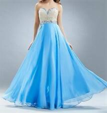 NWT Ice Blue Embellished Prom Evening Cruise Pageant Dress Ball Gown Size L