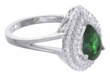 925 Sterling Silver Women Pear Shape White/Emerald Cubic Zirconia Ring Size 5