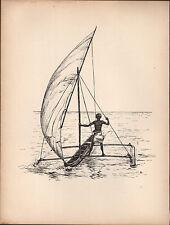 1936 SAILING SHIP PRINT ~ A DOUBLE-OUTRIGGER FROM ZANZIBAR ~