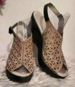 Women's~Jambu Vera Leather Wedge Pump Shoes~ Peep Toe~Grey/Black~Size 8~☆NEW☆