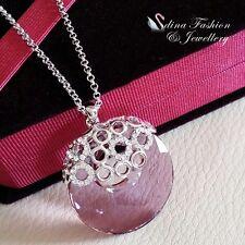 18K White Gold GF Made With Swarovski Element Round Clear Light Purple Necklace