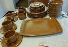 "MIKASA Painted Sands ""Adobe"" 6509 DINNER SET Mid Century Modern Japan Stoneware"