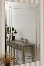 Large Modern Venetian Glass Double Edged Wall Mirror 2Ft7 X 3Ft11 80cm X 120cm