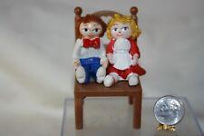 Miniature Dollhouse Vintage Boy & Girl Child's Toy Dolls Sitting in Chair 1:12 N