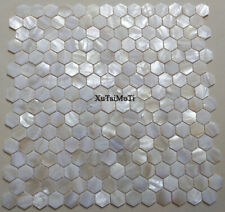white hexagon shell mosaic tile mother of pearl kitchen backsplash wall tile