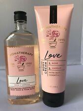 SET BATH & BODY WORKS Love Rose + Vanilla Body Wash & Body Cream Set FREE SHIP