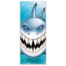 """1 SHARK Door Party Door Cover Jaws Decoration 30"""" x 6' OCEAN Luau Water"""