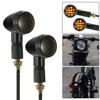 2X Black Bullet LED Turn Signal Indicator Light For Harley Custom Parts 12V