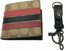 Coach Men's ID Billfold Wallet + Key Chain FOB Gift Set in Signature Canvas