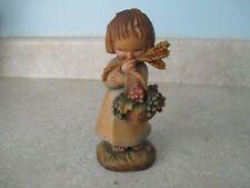 "Anri Harvest Girl Grape Basket Wheat #744 of 1500 Wood Carving 6"" Handmade Italy"