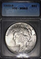 1922-S Peace Silver Dollar ICG MS63, Tougher Date, Issue Free, Nice,Nice