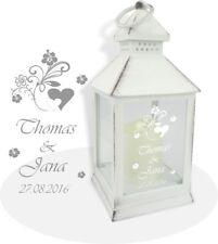 Sehr schöne weiße LED Laterne inkl. Wunschgravur, Wunschtext. Die Geschenkidee!